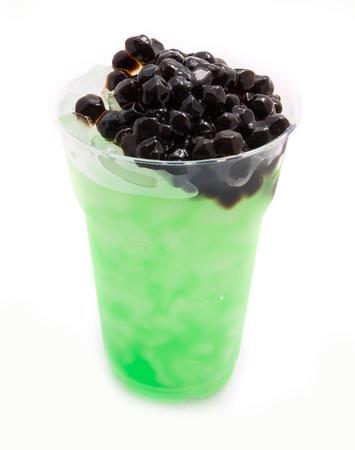 pearl tea: bubble tea green isolated on white