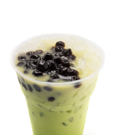 bubble tea green isolated on white photo