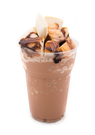 Cocoa smoothie with bread photo