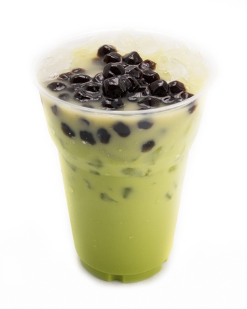 leche: burbuja de t? verde aislado en blanco Foto de archivo