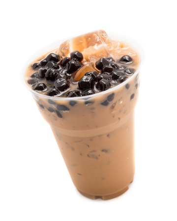 bubble tea brown isolated on white photo