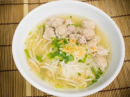 noodle soup: pork meatballs and noodle soup