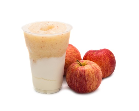 Apple smoothie isolated on white photo