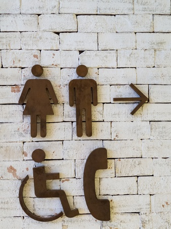 man woman phone handicapped access sign photo