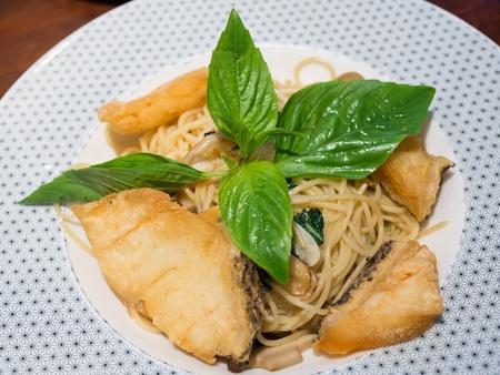bluefish: Tasty Spaghetti with snow fish Stock Photo