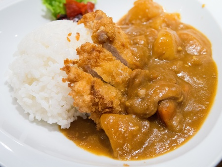 japanese food fry pork curry photo