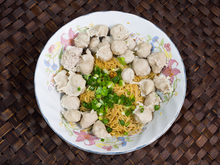 Noodle with meatballs photo