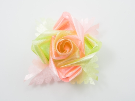Beautiful gift bows with ribbons photo