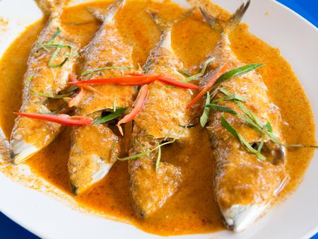 pla: Small scomber in chili paste sauce  Choo Chee Pla Thu  Stock Photo