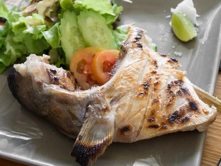 kama: Hamachi Kama Grilled Stock Photo