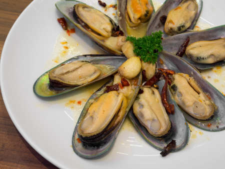 Baked mussels garlic photo