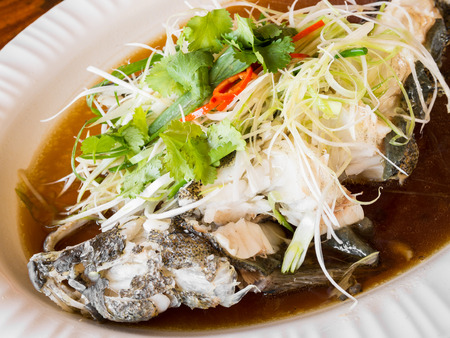 goby: Steamed goby fish with soy sauce