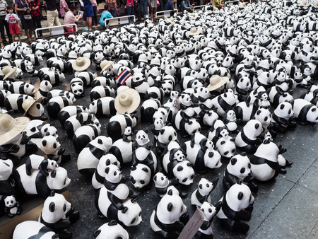 Bangkok,Thailand - March 15 ,2016 : Flash mob 1600 Pandas World Tour by WWF at Bangkok Railway Station (Hua Lampong). This campaign of WWF to raise awareness in conservation for endangered animals.