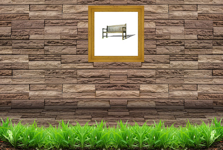 brick texture and picture frame  photo