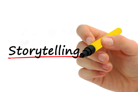 Hand writing storytelling with red marker on transparent wipe board business concept