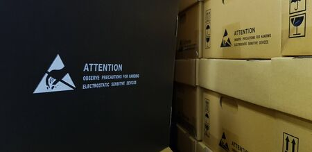 Standard caution Electrostatic Sensitive Device (ESD) symbol on the box,Black paper box and Standard box that is coated with Carbon to prevent static electricity.