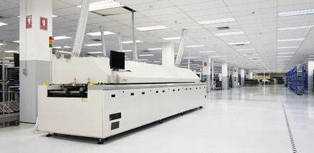 11 June 2019 Pathumthani Thailand ; The Surface Mount Technology machine,Automation machine in modern manufacturing in Pathum Thani Thailand. Éditoriale