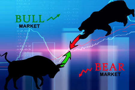 Bear market concept with stock chart digital numbers crisis red price drop arrow down chart fall / stock market bear finance risk trend investment business and money losing moving economic
