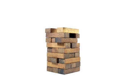 Wooden block tower game isolated on white background