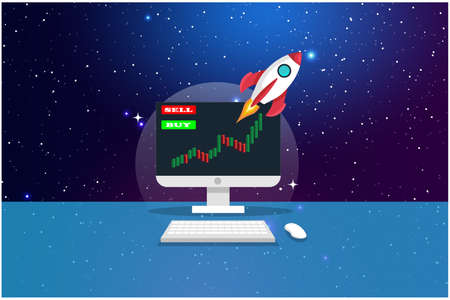 Concept of Crypto-currency. Rocket flying to the space,Computer showing on the background of outer space ,Crypto currency hype vector illustration