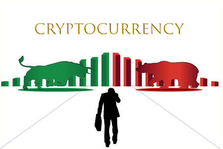 Vector of bull and bear symbols of stock market trends. The growing and falling market,The confrontation of the two sides. Bull and bear stood with a desperate businessman approached.