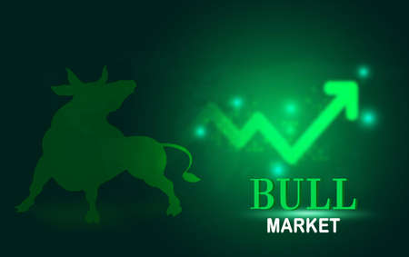 Abstract financial chart with bulls and bear in stock market on white background, Bull market and Bare market symbols, stock market concept