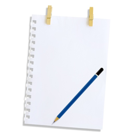 Note paper and pencil on a white background  Stock Photo - 15459944