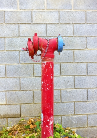 Hydrant with water hoses and fire extinguish equipment photo