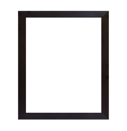 Black wood frame isolated on white background photo