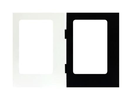 marco blanco y negro: Marco blanco negro aislado sobre fondo blanco