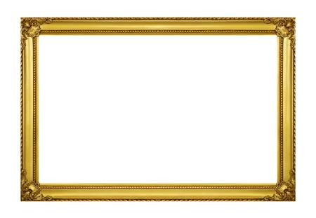 Golden frame isolated on white background Фото со стока