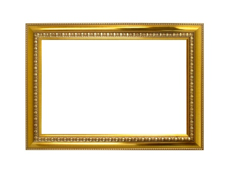 picture frame on wall: Golden frame isolated on the white background Stock Photo