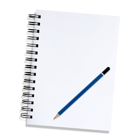 Note paper and pencil on a white background  photo