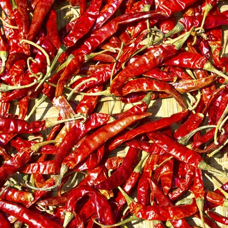 red chili peppers, closeup view Stock Photo