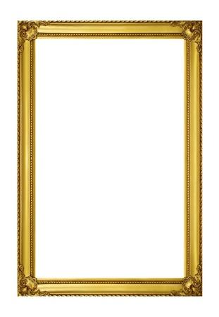 bordure vieille photo: Cadre dor� isol� sur fond blanc