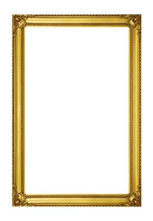 picture frame on wall: Golden frame isolated on white background Stock Photo