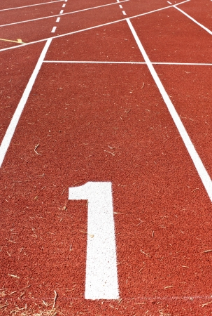 Athletics track lane numbers,the old racetrack in stadium Stock Photo