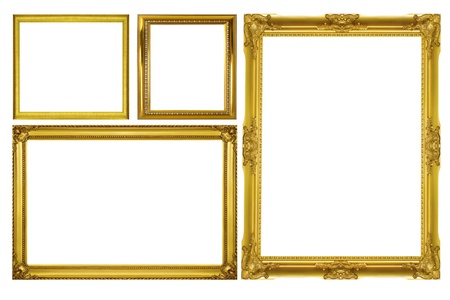 marco madera: Establecer el marco de oro aisladas sobre fondo blanco
