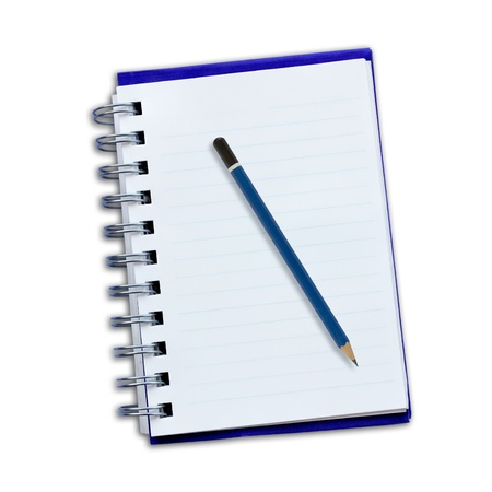 Notepad and pencil on a white background. photo