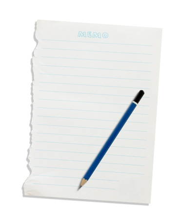 Note paper and pen on a white background. Stock Photo - 17149942