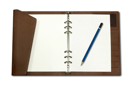Notebook is made of brown leather and Pencil isolated on white background Stock Photo