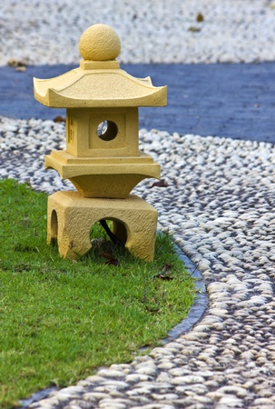 Stone lantern walk in the park photo