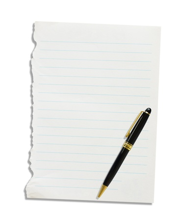 Note paper and pen on a white background  Stock Photo - 19336620