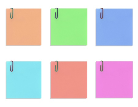 colorful paper notes isolated on white background