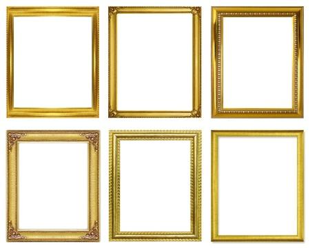 Set golden frame isolated on white background Stock Photo