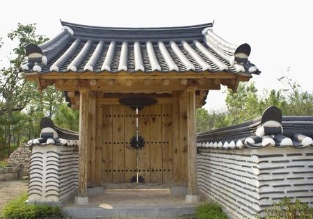 antique wooden door korean style photo