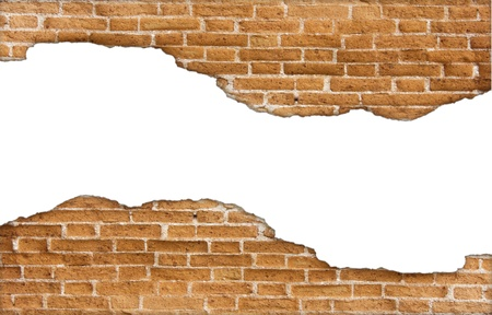 Molder brick wall on white background