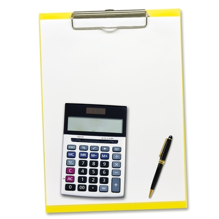 calculator and Pen on notepad  isolated on white background photo