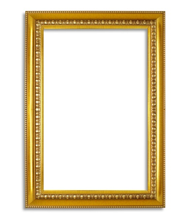 Golden frame isolated on white background Stock Photo