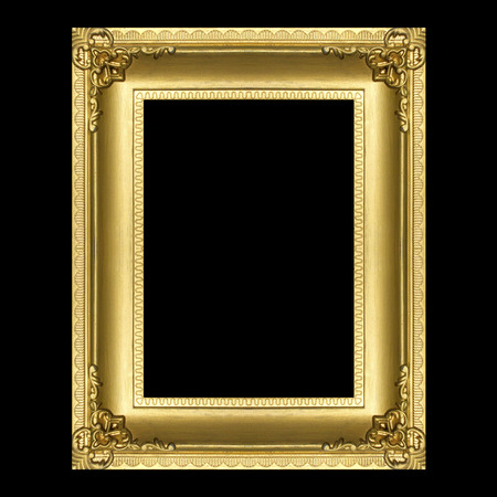 Antique gold frame isolated on the black background